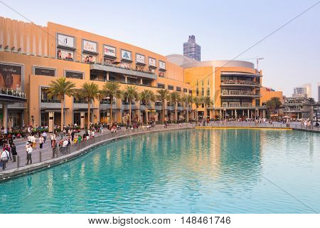 DUBAI, UAE - 1 APRIL 2014: Dubai Mall and the Luxurious Address Hotel in downtown of Dubai, UAE. Dubai Mall is the largest shopping center in the world with over 1200 stores.