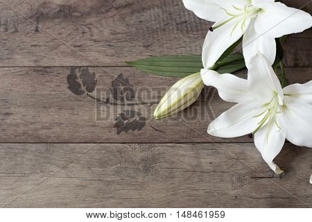 Floral Frame With White Lilies On Wooden Background. Styled Marketing Photography. Copy Space. Weddi
