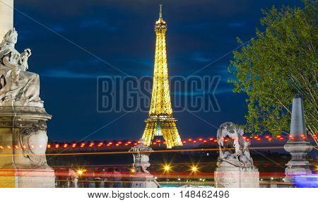 paris France-September 20 2016: The Eiffel tower is one of the most visited monuments in the world. It is iron steel structure on the bank of Seine river in Paris France.