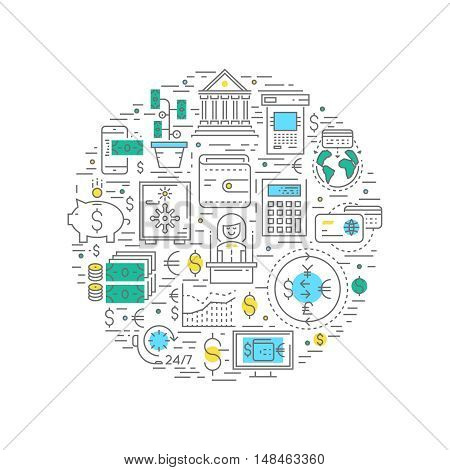 Financial business round composition with bank money and credit cards currency exchange and customer service vector illustration