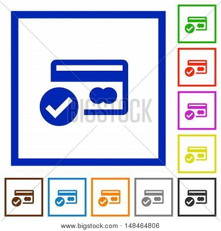 Set of color square framed Credit card verified flat icons
