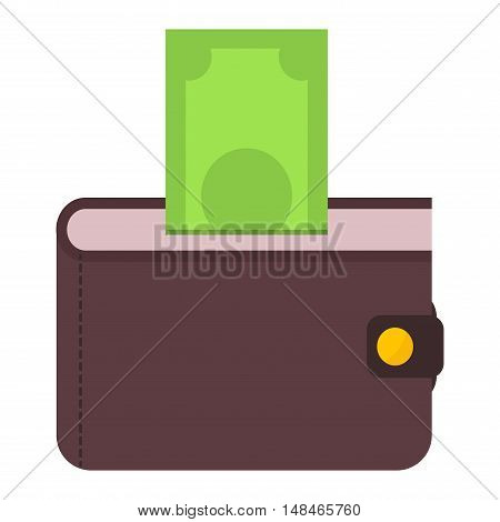 Purse wallet icon with money shopping. Shopping buy change business currency purse wallet. Financial payment bag accessory object purse trendy wallet vector.