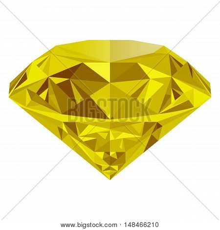 Realistic shining yellow topaz jewel isolated on white background. Colorful gemstone that can be used as part of logo icon web decor or other design.