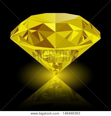 Realistic shining yellow topaz jewel with reflection and yellow glow isolated on black background. Colorful gemstone that can be used as part of logo icon web decor or other design.