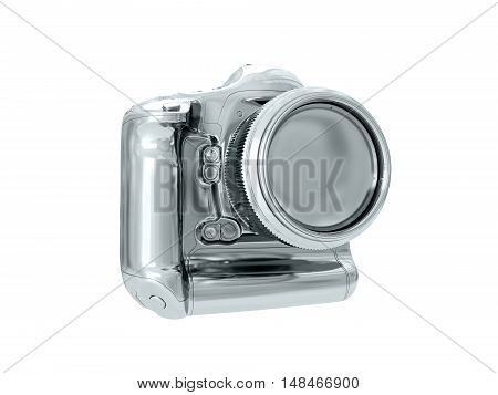 Silver camera isolated on white background. 3D rendering