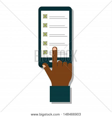 Touch screen mobile phone in hand media vector information. Communication display message hand with phone telephone blank. Internet technology device hand with phone showing touch gadget.