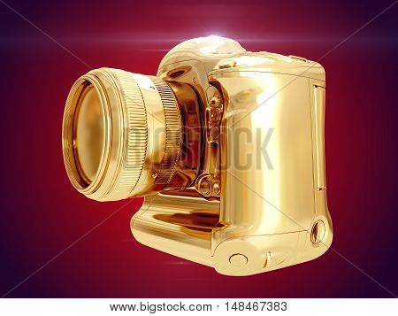 Golden camera isolated on red background. 3D rendering