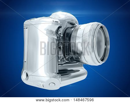 Silver camera isolated on blue background. 3D rendering