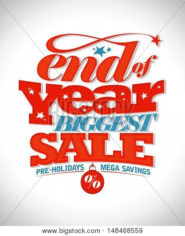 End of year biggest sale text banner mock up