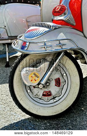 Genova, Liguria, Italy - September 18, 2016: Oktoberfest in Victory Square in Genoa, the first edition of motorsport meeting HBier rally dedicated to Vespas, Lambrettas and Fiat 500. Detail of design Lambretta - iconic Italian scooter.