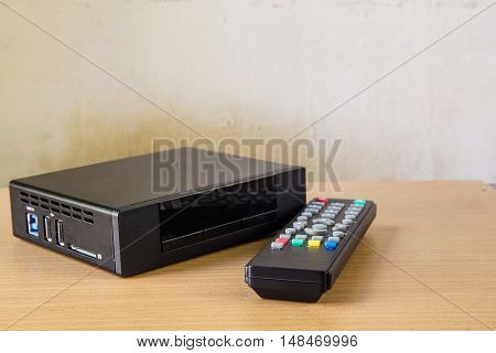Hd Player With Remote Controler Isolated On White