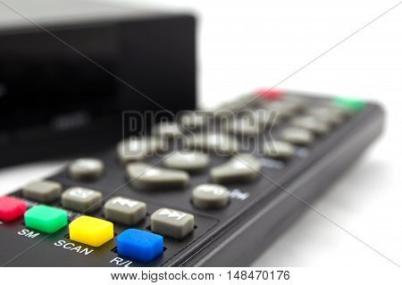 hd player with remote controler isolated on white background