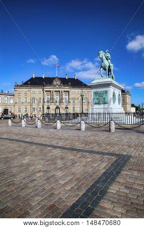 Sculpture of Frederik V on Horseback in Amalienborg Square in Copenhagen Denmark poster