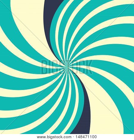Swirling radial yellow blue vector abstract background.