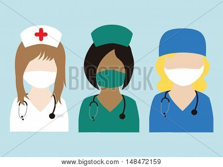 Different Set Flat Nurses - Nurses Flat Design- Nurses Vector - Nurses Isolated