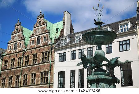 Fountain Stork on Amagertorv square at the city centre in Copenhagen Denmark