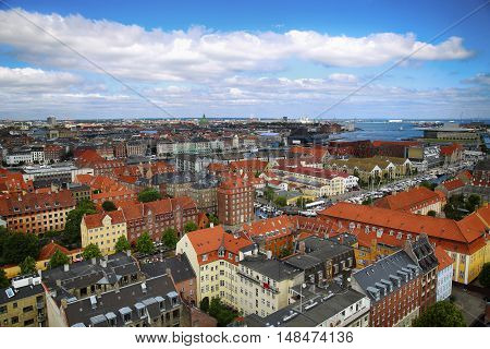 Panoramic view of Copenhagen from church Vor Frelsers Kirke in Copenhagen Denmark