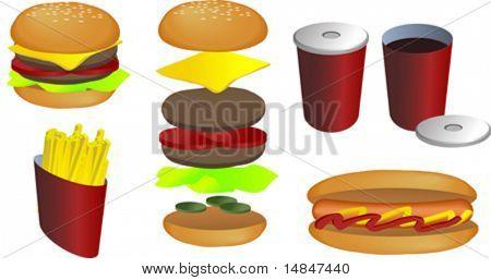 Fast food vector isometric illustration: hamburger, fries, hot dog, soda