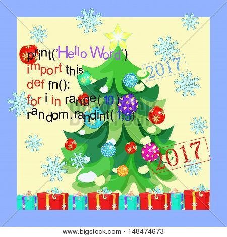 Greeting Card Program Code, Snowflake, New Year Christmas Tree. Vector Illustration
