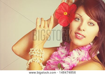 Beautiful hawaiian hula dancer woman