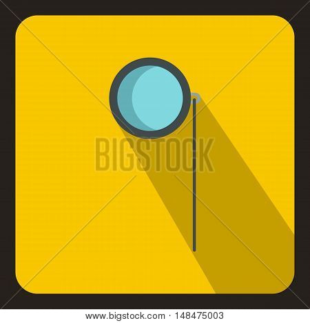Monocle icon in flat style on a yellow background vector illustration
