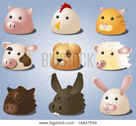 Cartoon illustrations of farm animals and pets: pig, chicken, cat, cow, dog, sheep, horse, donkey, bunny. Vector isometric heads