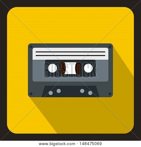 Cassette tape icon in flat style on a yellow background vector illustration