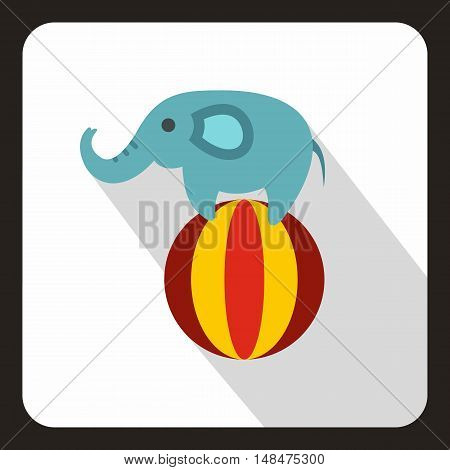 Elephant balancing on a ball icon in flat style on a white background vector illustration