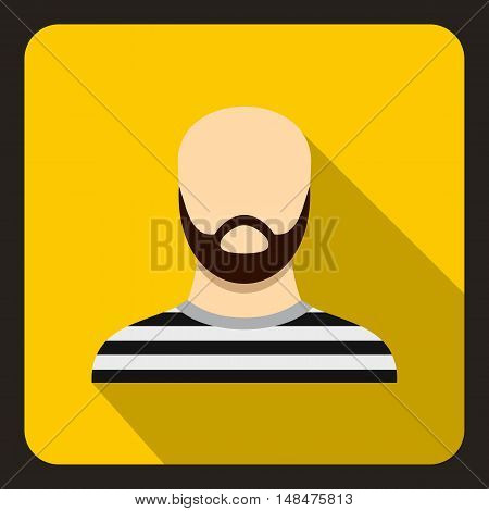 Bearded man in prison garb icon in flat style on a yellow background vector illustration