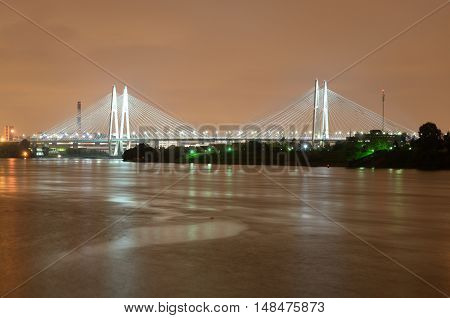 Cable-stayed bridge with illumination across the Neva River in St.Petersburg Russia.
