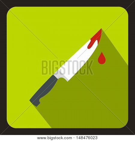 Steel knife covered with blood icon in flat style on a lime background vector illustration
