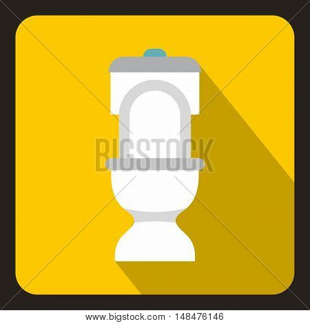 White toilet bowl icon in flat style on a yellow background vector illustration
