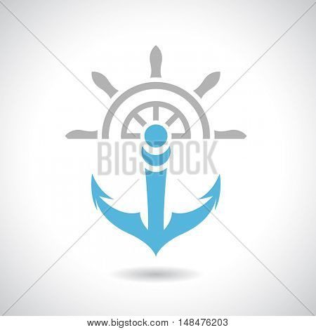 Illustration of an Anchor and Rudder Icon isolated on a white background