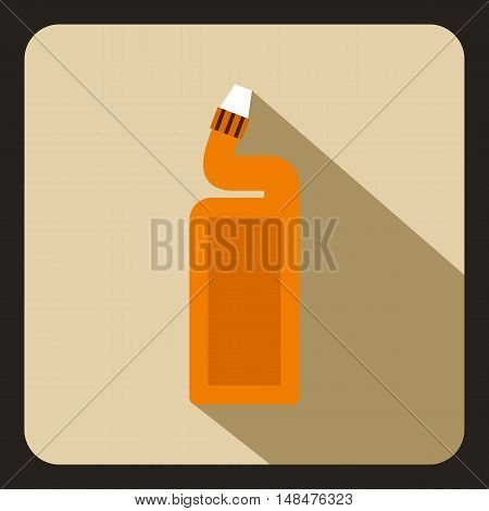 Orange plastic bottle of drain cleaner icon in flat style on a beige background vector illustration
