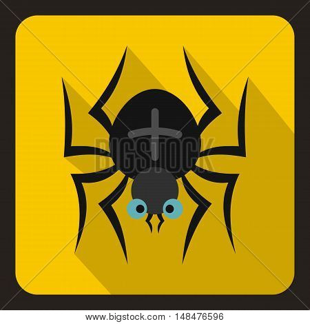 Black spider icon in flat style on a yellow background vector illustration