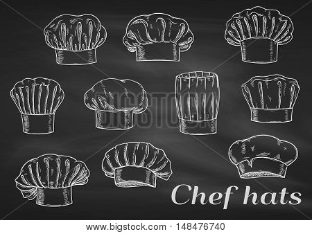 Chef toques, hats. Chalk sketch on blackboard. Cook caps icons of different shapes and forms for restaurant decoration, bakery elements, kitchen design