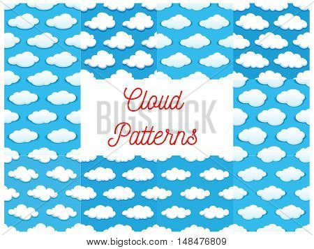Cartoon cumulus clouds in blue sky. Seamless pattern backgrounds. Wallpaper and cloud icons for decoration