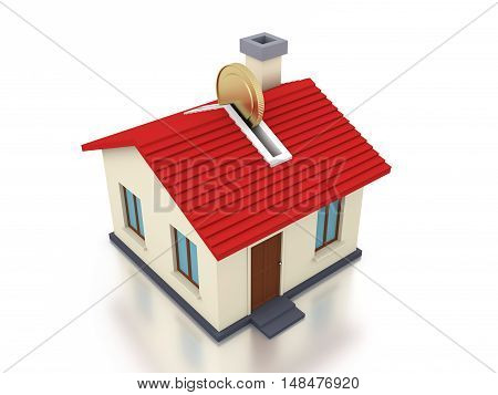 Gold Coin with Home Model - 3D Rendering Image