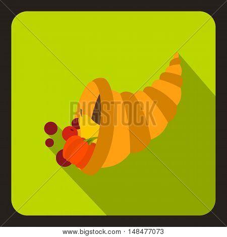 Cornucopia icon in flat style with long shadow. Prosperity symbol vector illustration
