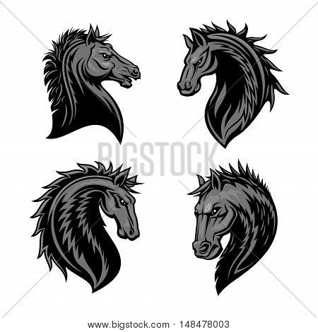 Raging stallion head with thorny prickly mane. Stylized heraldic icons of furious horse. Mustang emblem symbol for sport club, team badge, label, tattoo poster