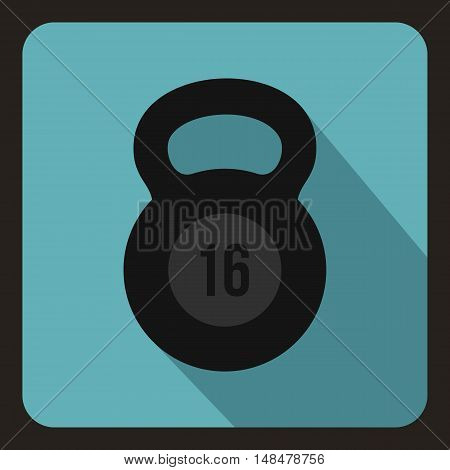 Weight sixteen pounds icon in flat style with long shadow. Sport symbol vector illustration