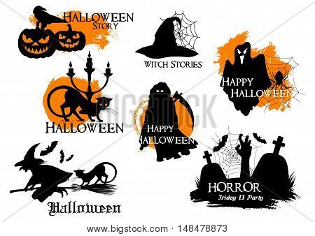 Black and orange Halloween Story silhouette elements. Isolated vector icons of pumpkin lanterns, black crow, cat, witch flying on broom, spooky ghost, full moon, death reaper, zombie hand from graveyard with tombs and crosses