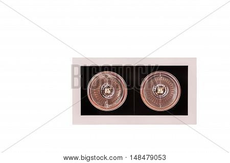 Modern style lighting fixtures on ceiling isolated on white background