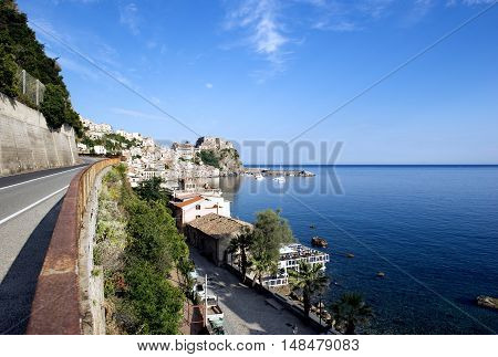 Strait Of Messina And Sicily Seen From Calabria