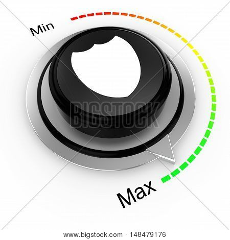 3D illustration of a rotary knob isolated on white with a min to max scale from red to green with a shield cybersecurity concept