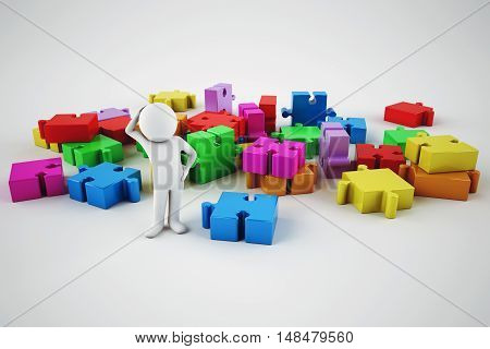 Confused white cartoon man try to build a company. 3D rendering