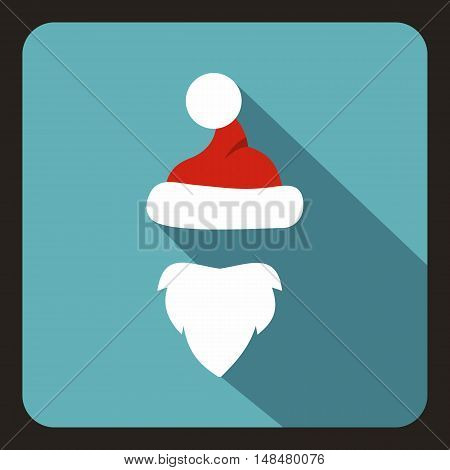 Hat with pompom and beard of Santa Claus icon in flat style with long shadow. New year symbol vector illustration