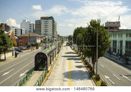 Trolley bus station La Y on a sunny day, located in Quito Ecuador.