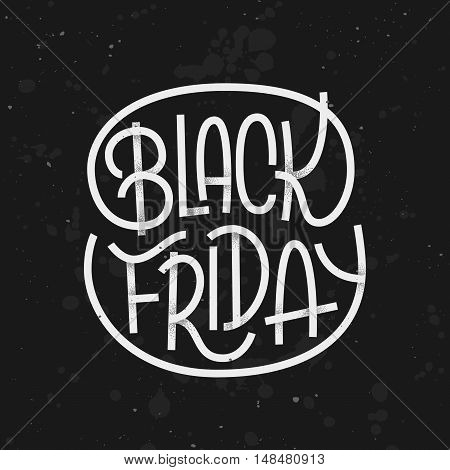 Black Friday lettering on dark background with grunge texture