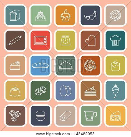Bakery line flat icons on orange background, stock vector